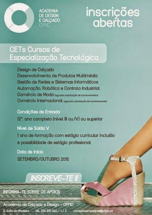 Cursos CET em São João da Madeira (a iniciar em Setembro / Outubro de 2015)