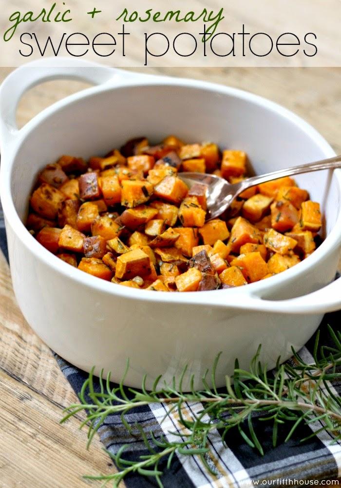 garlic rosemary sweet potatoes