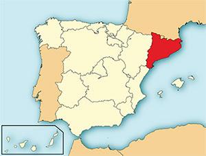 Localización de Cataluña en el mapa español