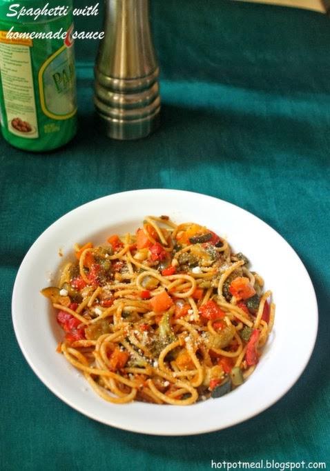 spaghetti with homemade sauce