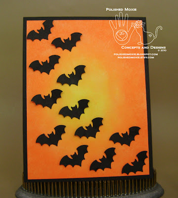 Picture of the front of my handmade bats Halloween card