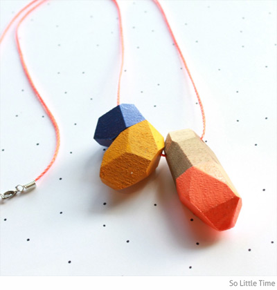 So Little Time faceted geo wooden crystal necklace
