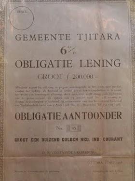 """Obligasi kuno jaman Belanda . """" Gemeente Tjitara  6% Obligatie Lening"""" Groot f 200.000,-TERJUAL / SOLD."""