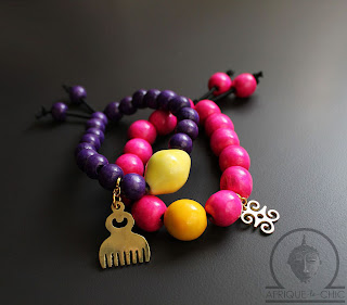 african wood beaded adinkra bracelets
