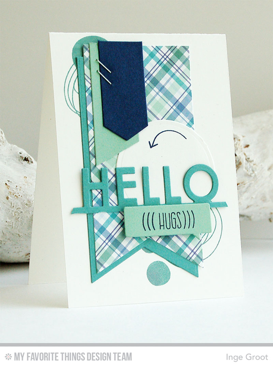 Hugs & Hello Card by Inge Groot featuring the Lisa Johnson Designs Whimsical Wishes stamp set and the Fishtail Flag STAX and Blueprints 7 Die-namics #mftstamps