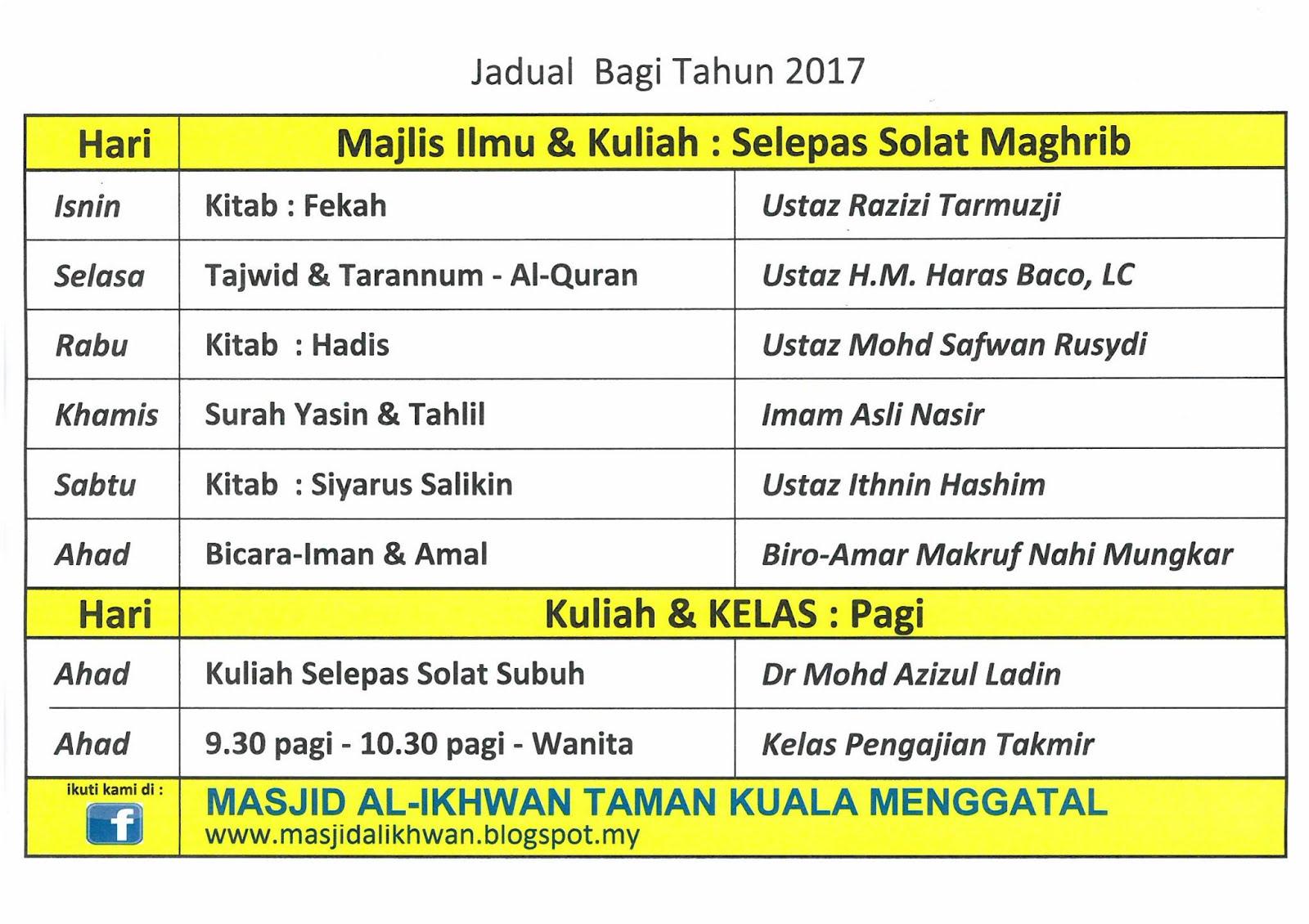Jadual Kuliah/Majlis Ilmu 2017