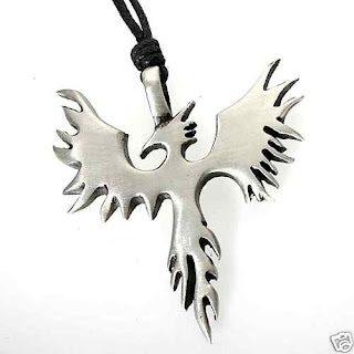 52H Silver PEWTER Fire Bird PHOENIX PENDANT Necklac