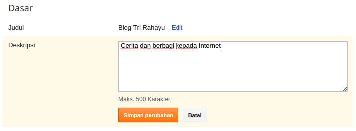 pengaturan judul dan deskripsi blog