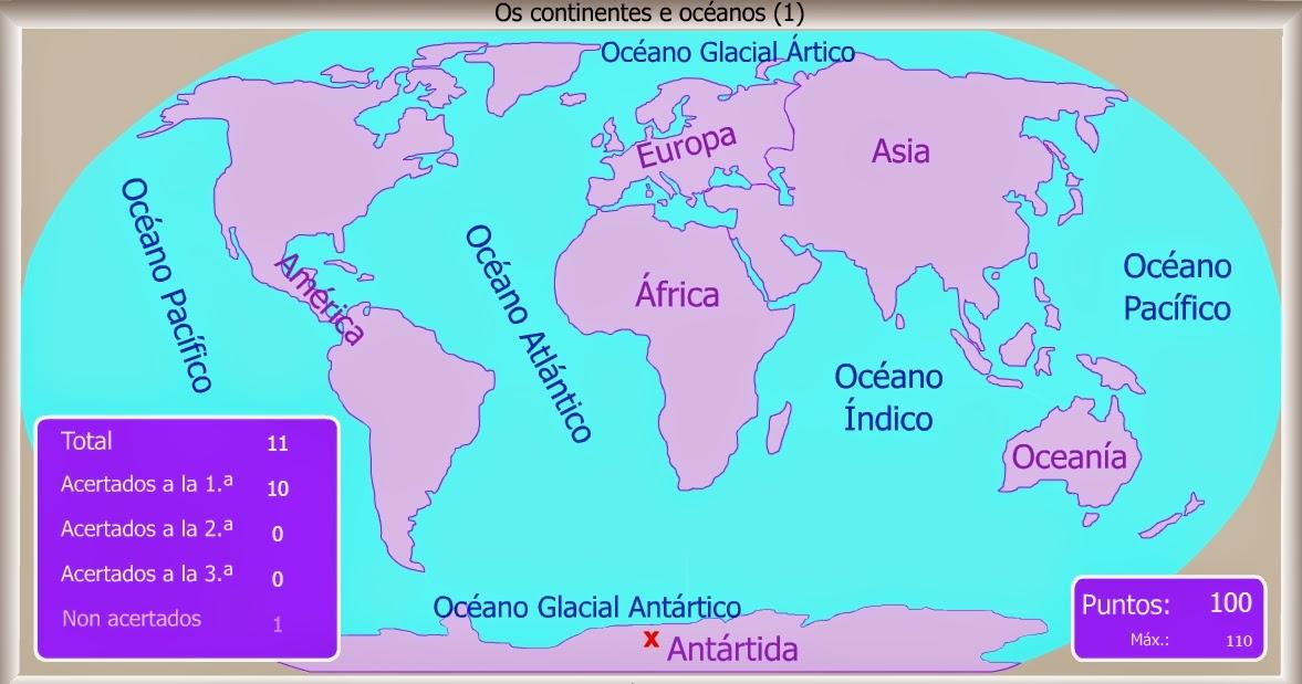 Tercero de Primaria Sociais Tema 08 Planos e mapasCONTINENTES
