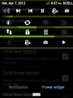 Notification Window - Tab layout - Power Widget Drawer