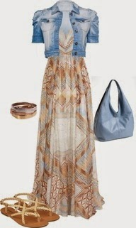Maxi Dress with Cropped Denim Jacket by fun