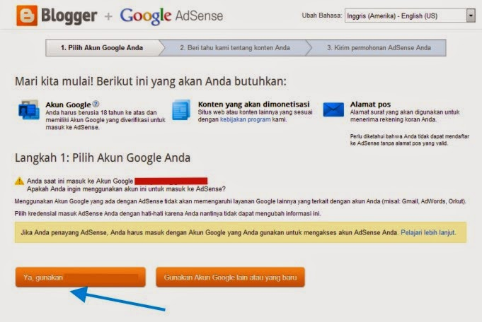 step 2 daftar adsense via blogger