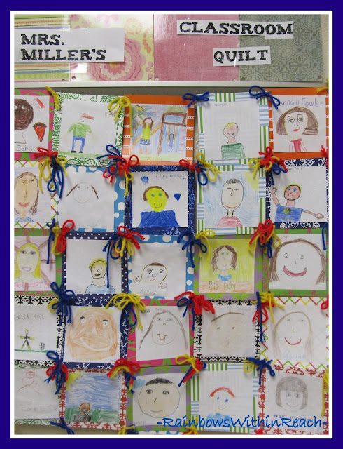 photo of: Mrs. Miller's Classroom Quilt Tied with Yarn via RainbowsWithinReach Quilt RoundUP