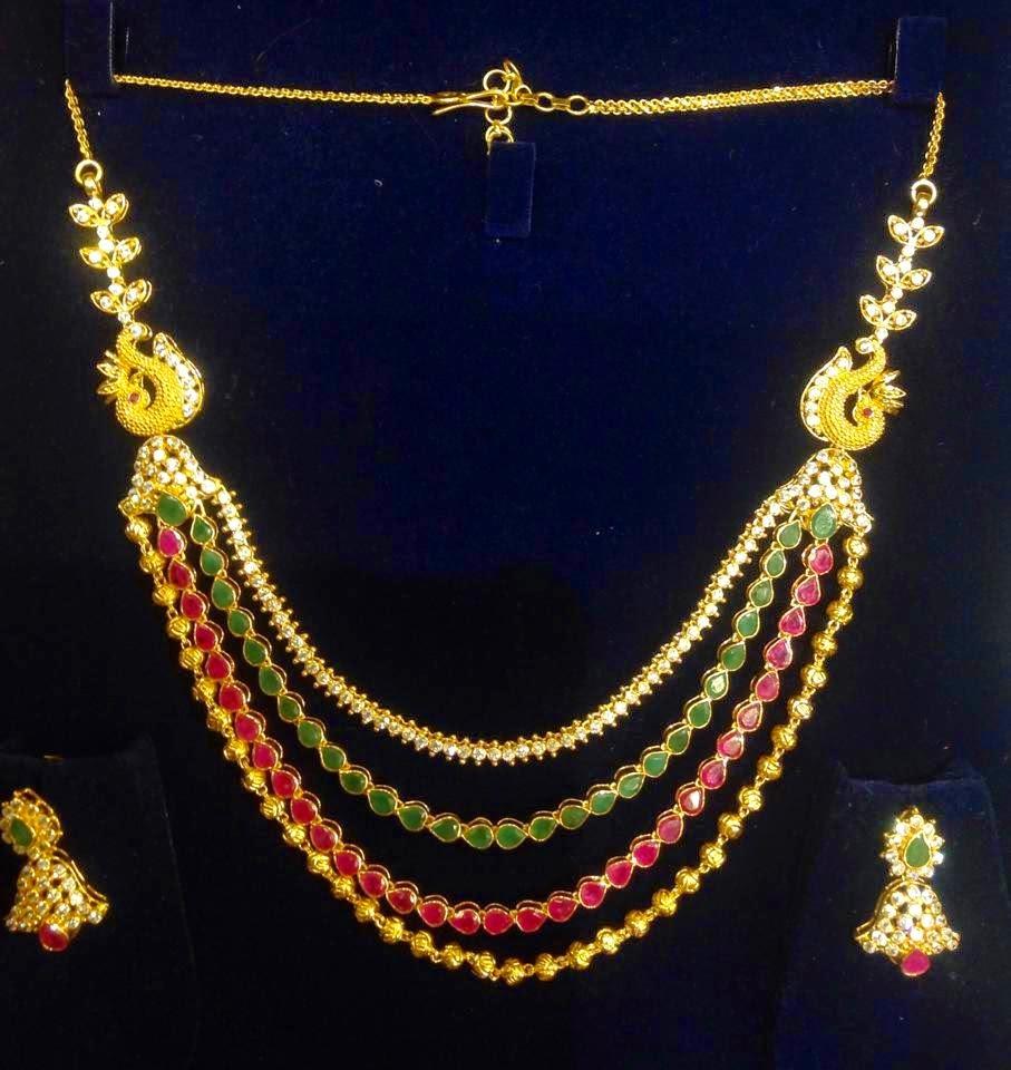 Jewellery Designs Trendy Step Chain Jewellery Haram set