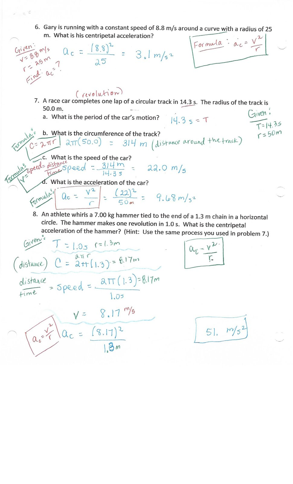 PHYSICS WITH COACH T Centripetal Acceleration Universal – Acceleration Worksheets