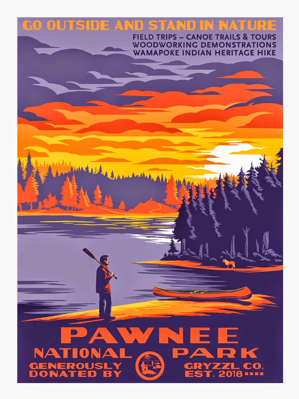 "Emerald City Comicon 2015 Exclusive ""Pawnee National Park"" Parks and Recreation Standard Edition Screen Print by Mark Englert"