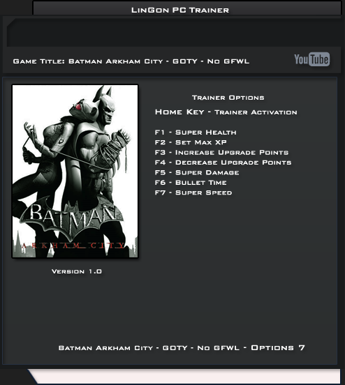Batman Arkham City GOTY-NO GFWL Edition v1.0 Trainer +7 [LinGon]