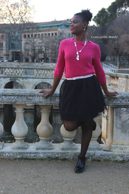 cosmopolite beauté, cosmopolitan beauty, black girl, femme noire, tutu, tulle, jupe tulle, fushia, nimes,