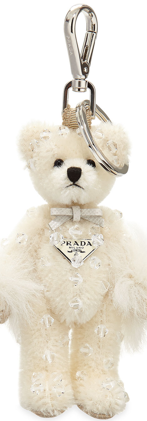 Prada Swarovski® Crystal Teddy Bear Charm for Handbag, White