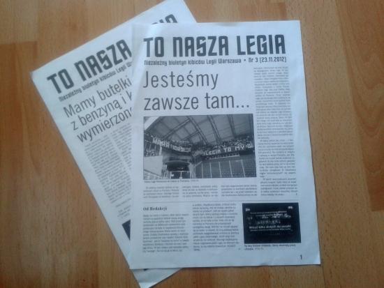 """To nasza Legia"" - fanzin protestowy - fot. Tomasz Janus / sportnaukowo.pl"
