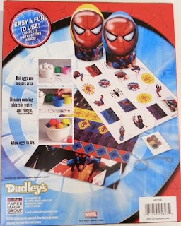 Back of Spider Sense Spider-Man Easter Egg Decorating Kit box