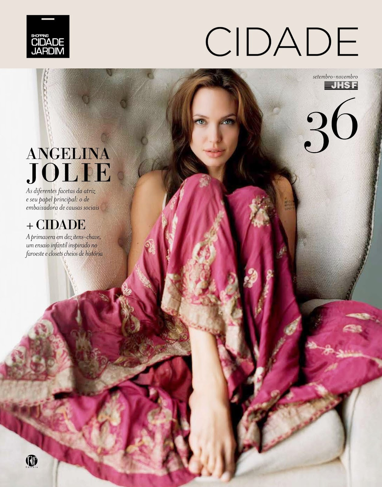 Angelina Jolie graces the cover and gives an interview to the magazine Garden City