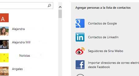 contactos de redes sociales