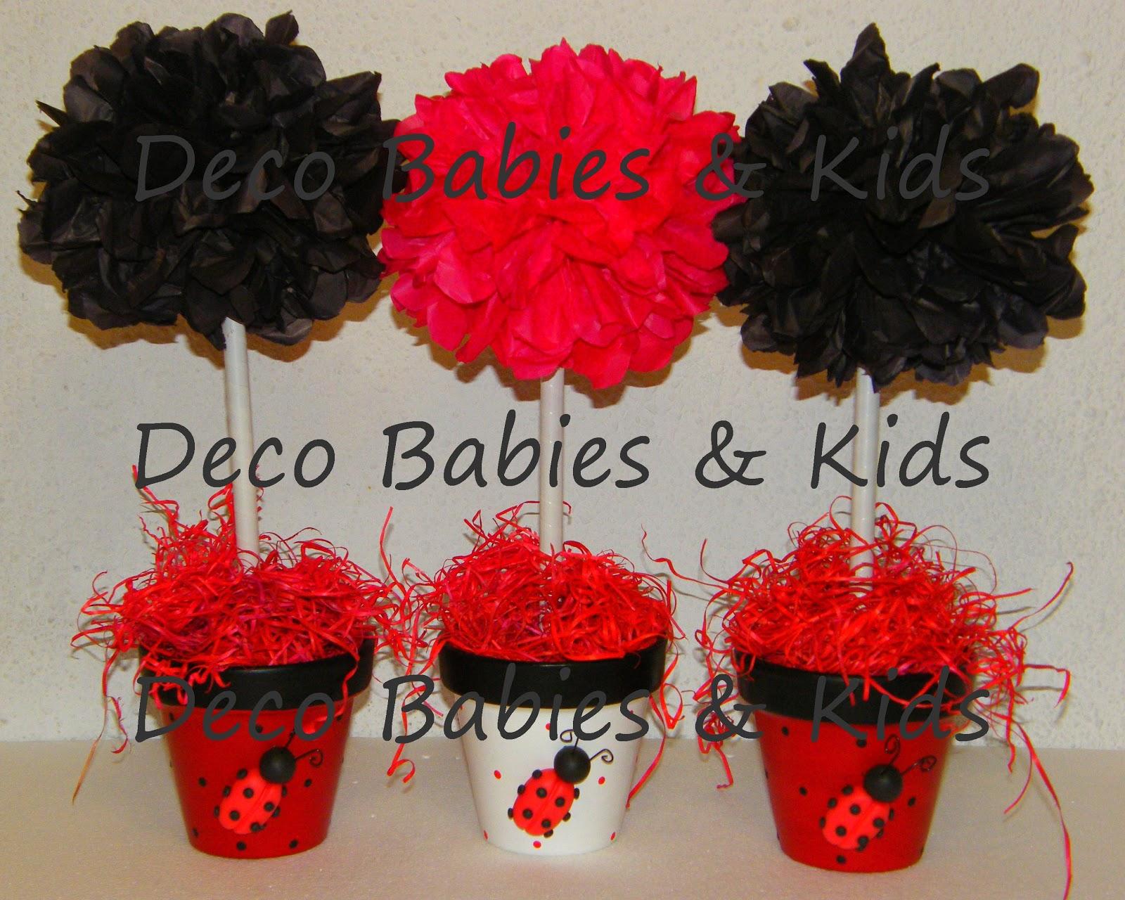 Deco Babies & Kids: Centros de mesa Arbolitos con pompones de ...