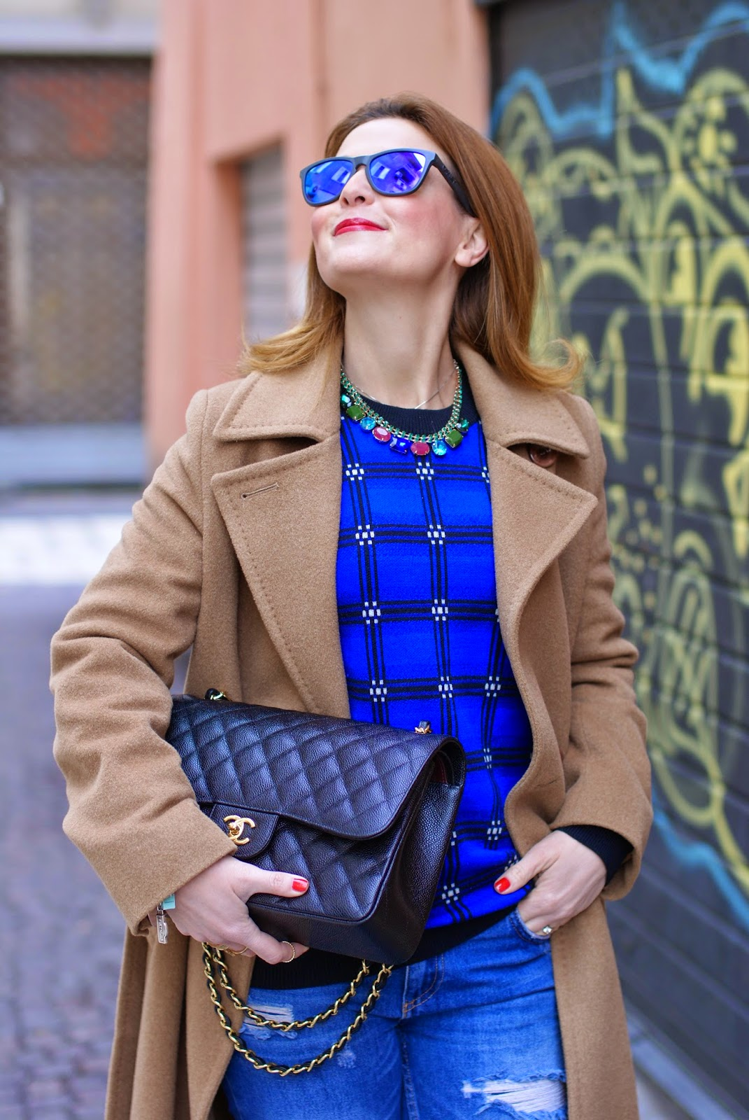 Max Mara camel belted wool coat and Chanel 2.55 classic flap bag on fashion blogger Vale on Fashion and Cookies fashion blog