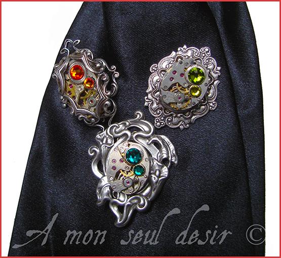 Pic à Cravate Lavallière Steampunk Mouvement montre Mécanique Dady TimeLord Jewellery