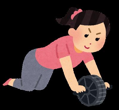 腹筋ローラーを使う人のイラスト