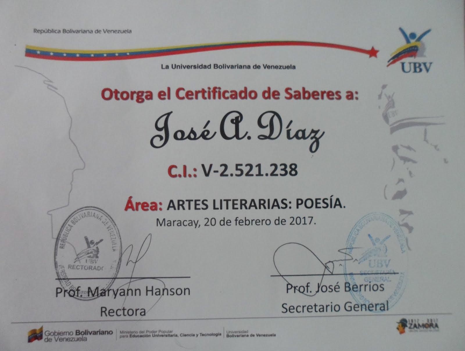 Certificado de Saberes de la UBV