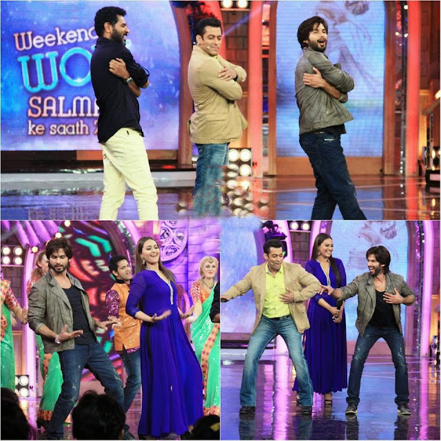 Prabhu Deva, Shahid Kapoor and Illiana at Bigg Boss set