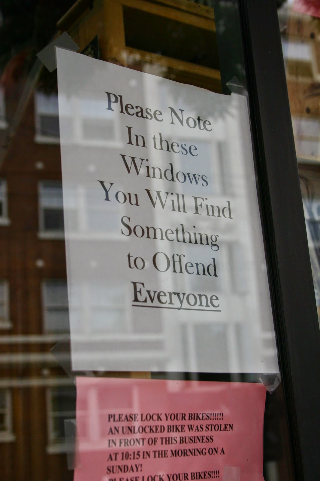 Notice sign at Twice Sold Tales