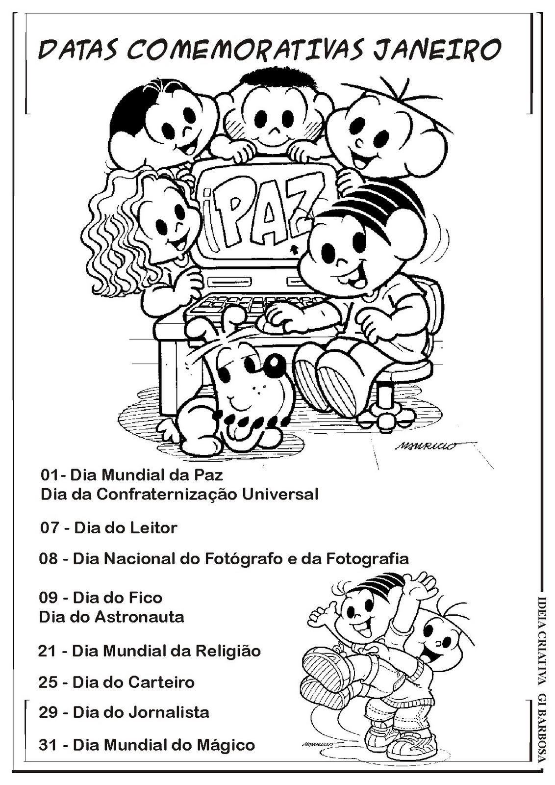 Datas Comemorativas Janeiro | Ideia Criativa - Gi Barbosa Educação ...