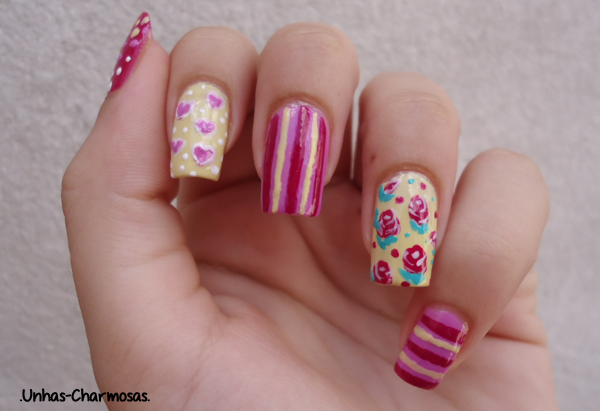 mix and match, mix and match nails, mix and match unhas, nail art, nail art floral, nail art fofa, nail art listras, unhas delicadas, unhas fofas, unhas mix n' match,