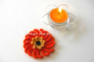 Crochet Flower Applique Orange