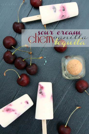 Paletas de Crema y Cereza con Tequila (Sour Cream, Cherry, & Tequila Ice Pops) <i>{she made, ella hace}</i>