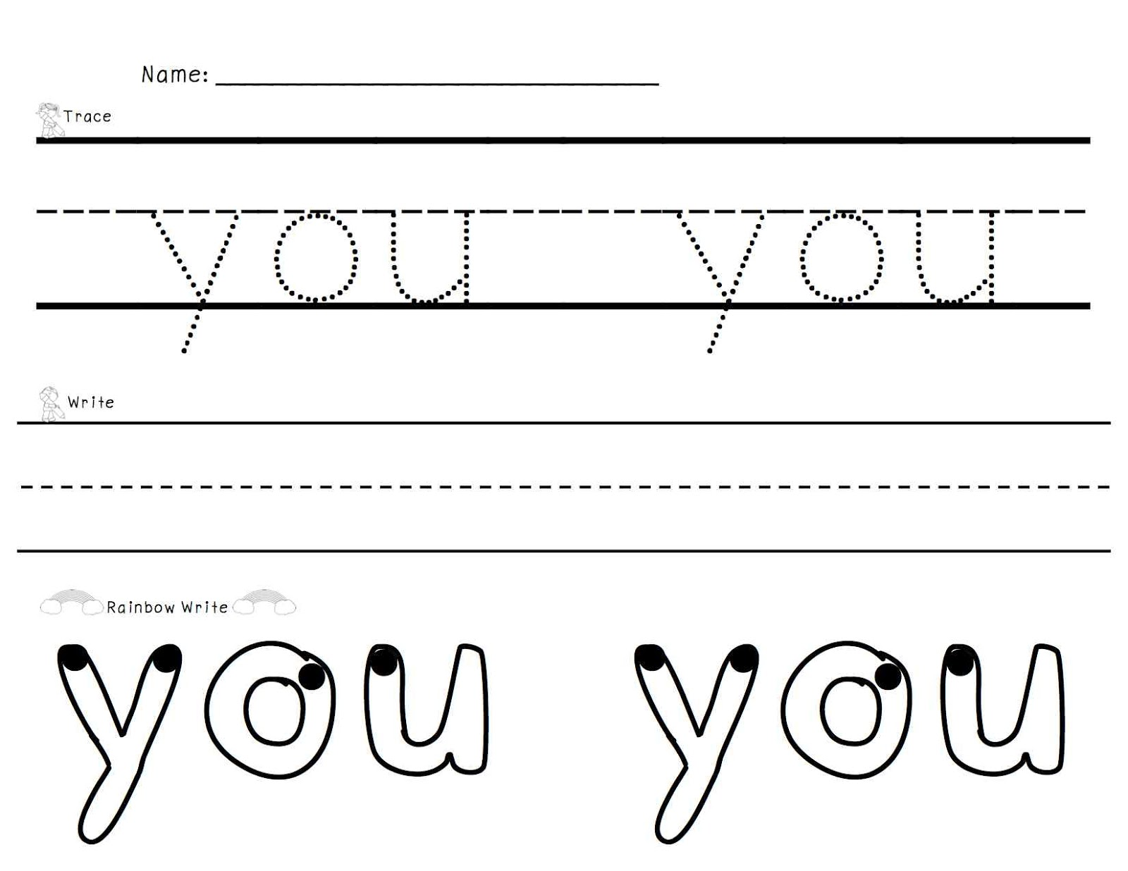 sight Words: Rainbow  Trace, worksheet word Write you Sight Write,