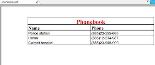 phonebook pdf report