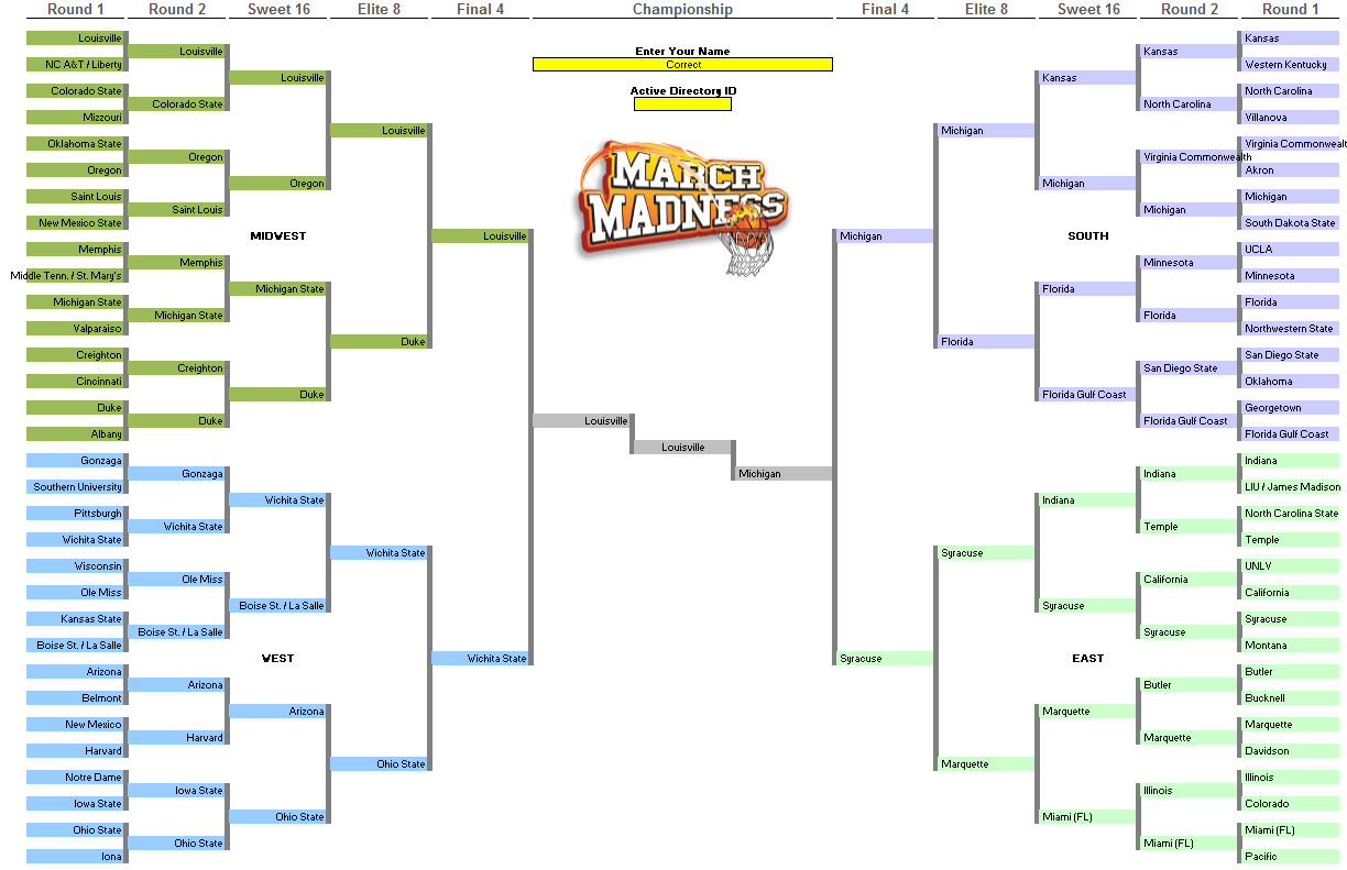 March Madness 2014 Bracket Template The data entry form looks just