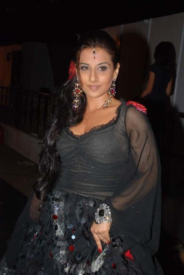 Vidhya Balan Hot In Black Transparent Dress