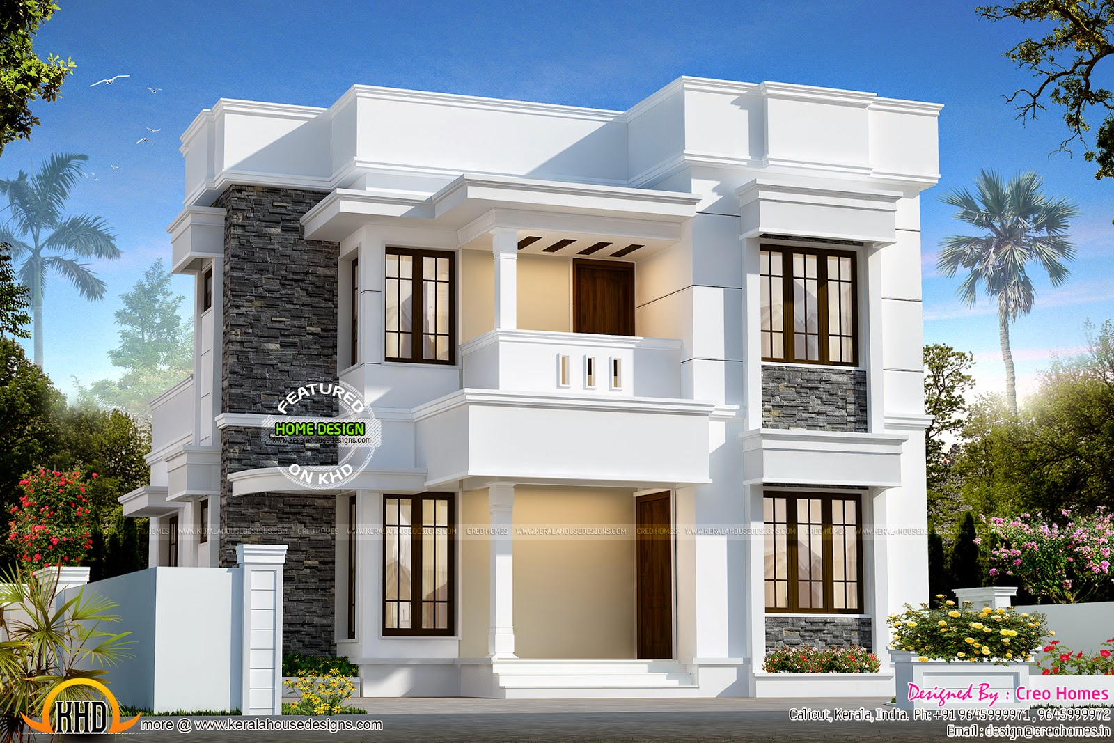Nice and small double storied house kerala home design for Small two floor house