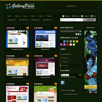 Green Gallery Press Blogger Template. blogger template from css template. photo template for blog.