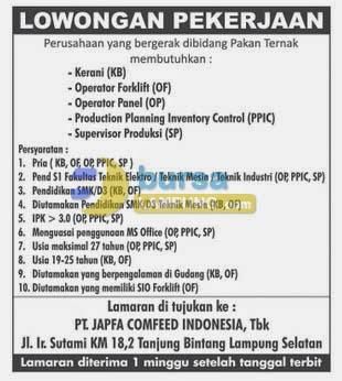 Lowongan Kerja Lampung PT. Japfa Comfeed Indonesia, Tbk 17 Juni 2014