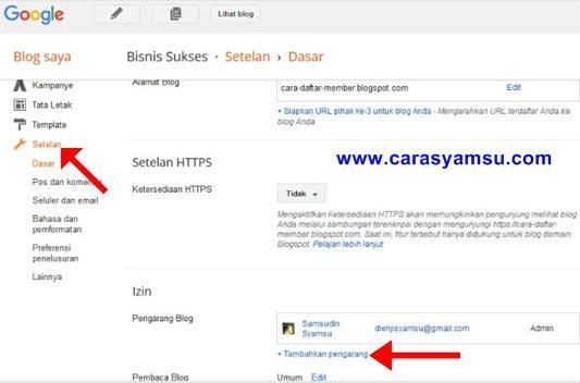 Cara Menambahkan/Mengundang Admin dan Pengarang/Penulis Tamu di Blog Blogger Blogspot