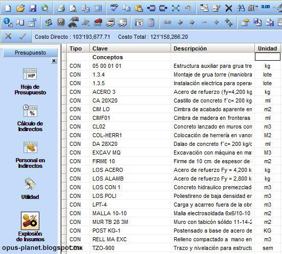 Opus 20110 Explosión de insumos de tipo concepto