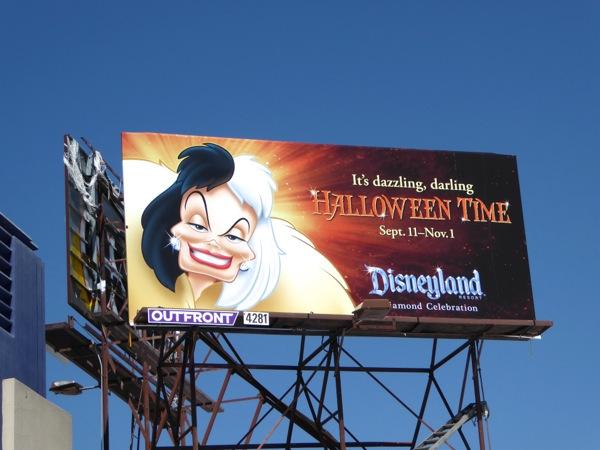 Cruella de Vil Disneyland Halloween billboard