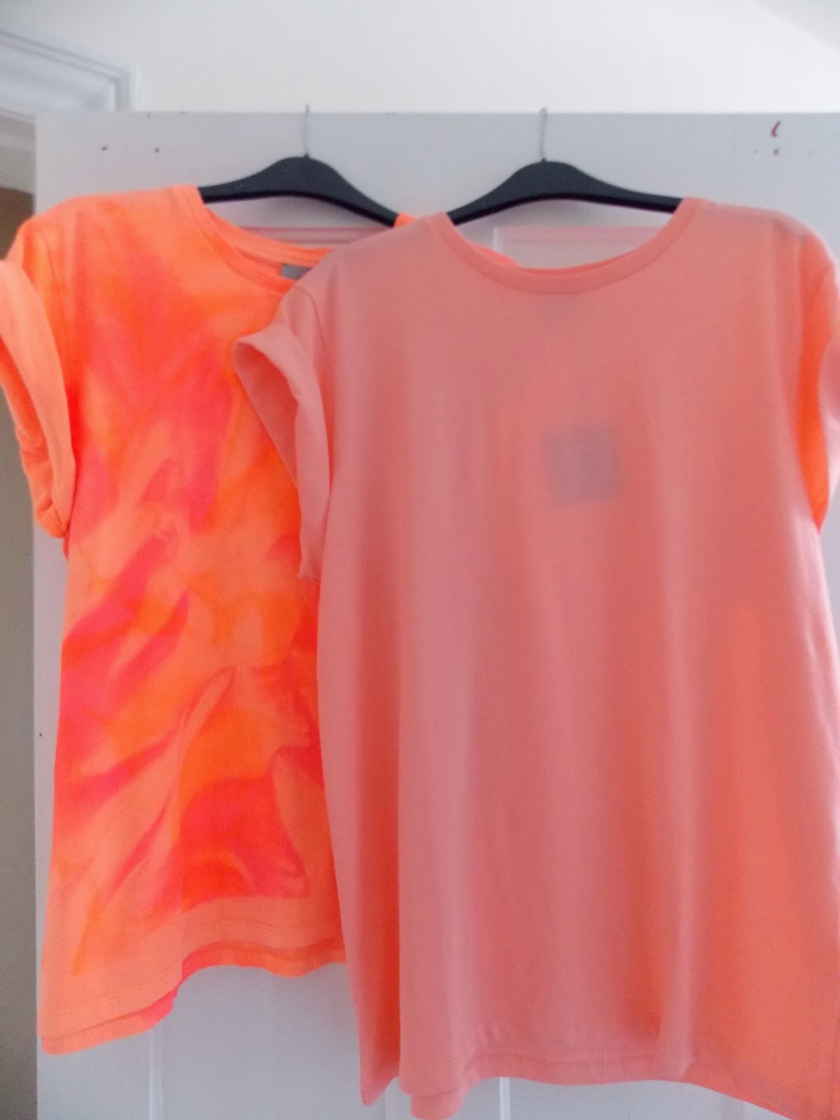 ASOS Boyfriend Tee in Fluro Tie Dye Print and ASOS Boyfriend Tee with Roll Sleeve