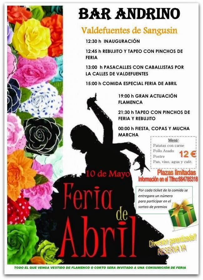 10/mayo. Fiesta Feria de Abril. Valdefuentes de Sangusin